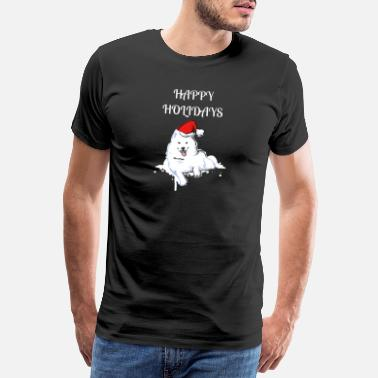 Samoyed Samoyed Pet Dog Saying Happy Holidays Gift T-Shirt - Men's Premium T-Shirt