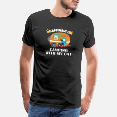 Funny Cat Camping With Cats RV Glamping Design - Men's Premium T-Shirt