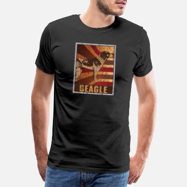 Loud Retro Beagle poster Distressed Look - Men's Premium T-Shirt