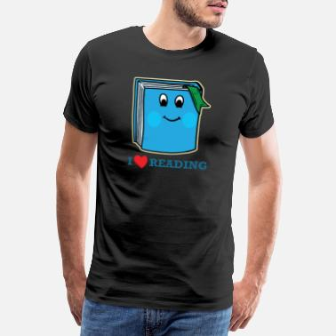 Reading I Love Reading Nerdy Heart Book Good Readers Gift - Mannen Premium T-shirt