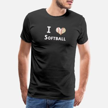 I Love Softball I Love Softball Heart Ball Fan Designs - Men's Premium T-Shirt