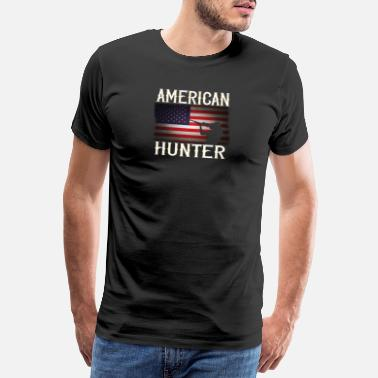 Rifle Distressed American Rifle Gun Hunter USA Flag - Camiseta premium hombre