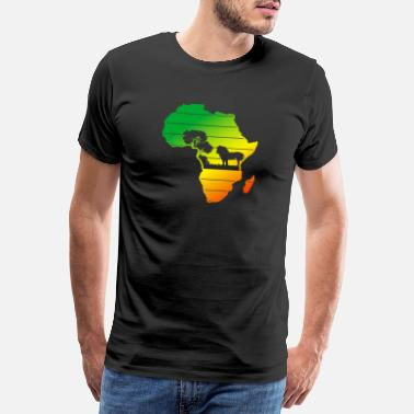 Beyond Roar Africa Map Lion Face Reggae Rasta Gift Design - Men's Premium T-Shirt