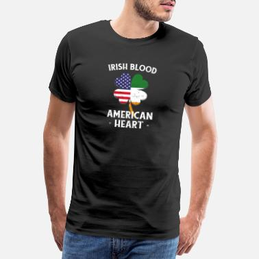 Shamrock Irish Blood American Heart St Patrick's Day - Maglietta premium uomo