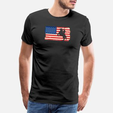 Western America Flag USA Cowboy Horse Western Gift - Camiseta premium hombre