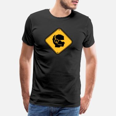 Caution shield warning caution note caution head logo desi - Men's Premium T-Shirt