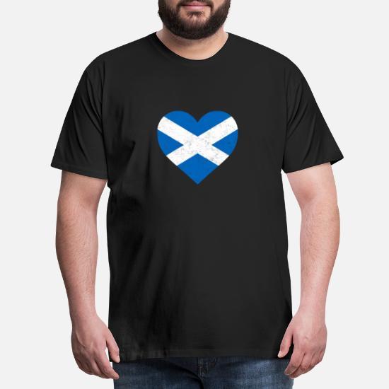 Skotland Flag Shirt Heart skotsk trøje Premium T shirt