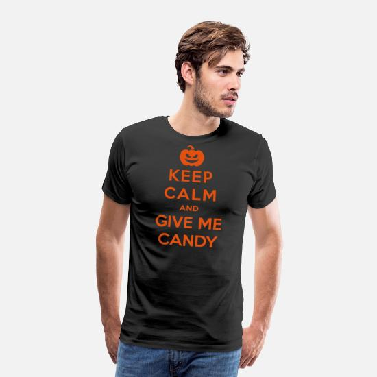 Funny T-Shirts - Keep Calm Give Me Candy - Funny Halloween - Men's Premium T-Shirt black