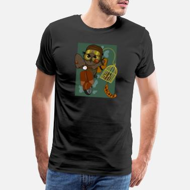 Brown Two Owls| Escape| Bird Cage| Vintage - Männer Premium T-Shirt