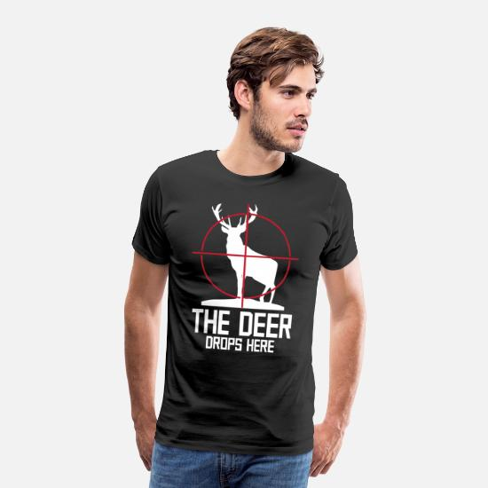 Stag T-Shirts - Deer deer forest water tree elk antler deer - Men's Premium T-Shirt black