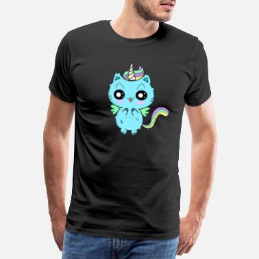 Eye Candy Unicorn cat with short-sighted eyes - Men's Premium T-Shirt
