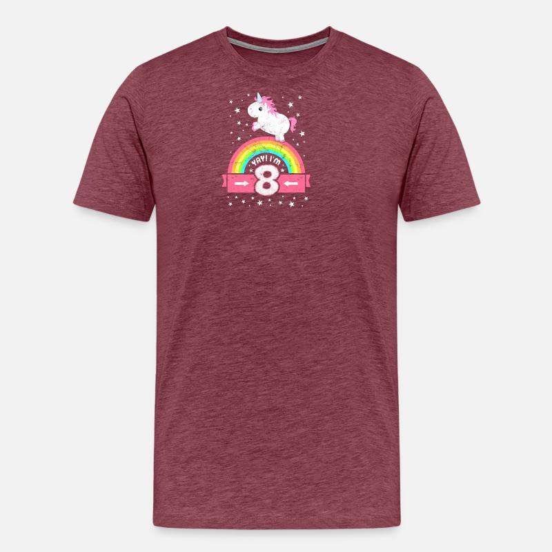 Funny Unicorn Dochter Meisjes 8ste Verjaardag Mannen Premium T Shirt
