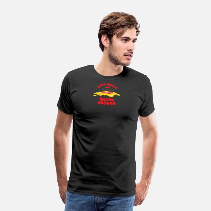 Gift Idea T-Shirts - Love, Peace and Bacon grease - Men's Premium T-Shirt black