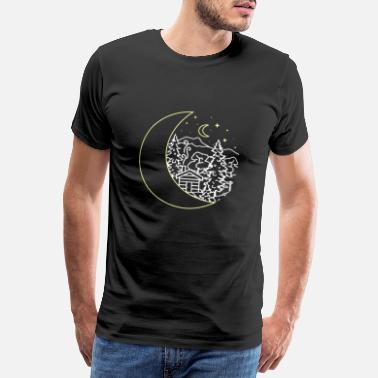 Circle Nature, night sky, forest, cabin, camping, winter - Men's Premium T-Shirt