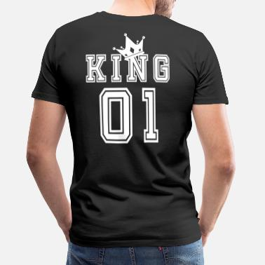 King Valentine's Day Matching Couples King Jersey - Premium T-shirt herr