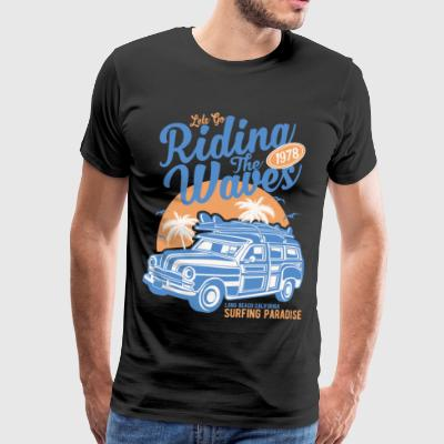 Riding The Waves Vintage Style - Herre premium T-shirt