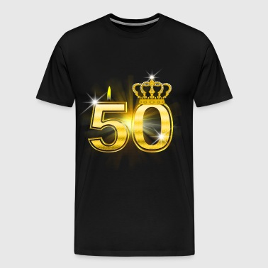 50 - Birthday - Queen - Gold - Mannen Premium T-shirt