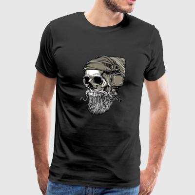 Beard hipster skull with headphones - Men's Premium T-Shirt