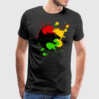 Reggae Panther splashes of color Black Music Rastafari - Men's Premium T-Shirt