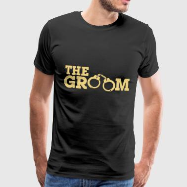 Groom in handcuffs - vector design - Men's Premium T-Shirt