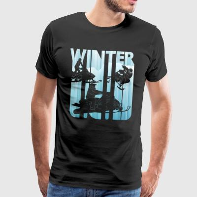 Vintage Winter Snowmobile. Sports gifts. Christmas - Men's Premium T-Shirt