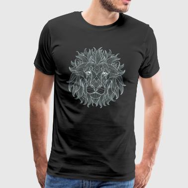 lion head mandala yoga drawing outline horoscope - Men's Premium T-Shirt