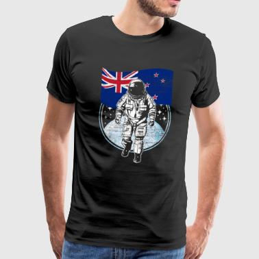 New Zealand flag in space Astronaut moon - Men's Premium T-Shirt