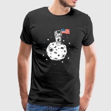 USA flag on the moon Gift America astronaut - Men's Premium T-Shirt
