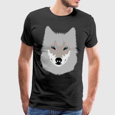 Gray Wolf with Blue Eyes - Men's Premium T-Shirt