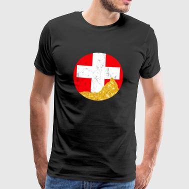 Switzerland with golden Matterhorn - Men's Premium T-Shirt