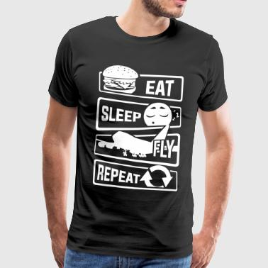 Spis Sleep Fly Repeat - Aircraft Pilot Airman Flight - Premium T-skjorte for menn