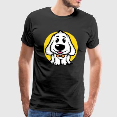 Sweet Beagle puppy with fly - Men's Premium T-Shirt