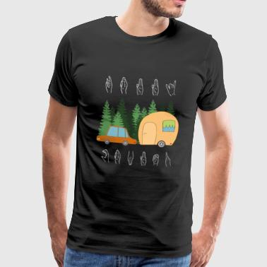 Happy Camper - Camping Camp Signe Langue - T-shirt Premium Homme