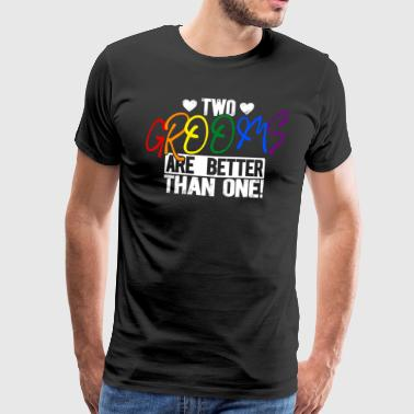 LGBT two grooms gay bachelorette party - Men's Premium T-Shirt