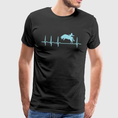 Heartbeat Bull Riding Bullriding Shirt Gift - Men's Premium T-Shirt