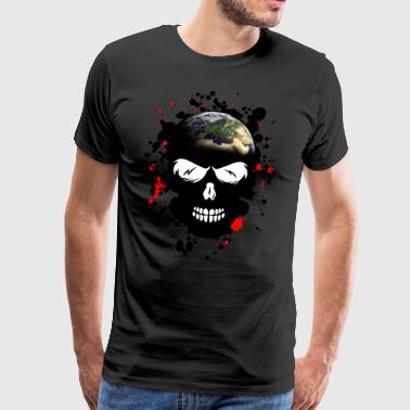 head of death earth planet skull crane stain blood - Men's Premium T-Shirt