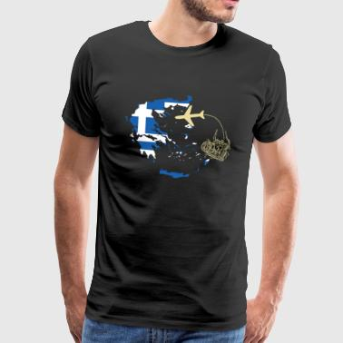 Greece camera plane vacation - Men's Premium T-Shirt