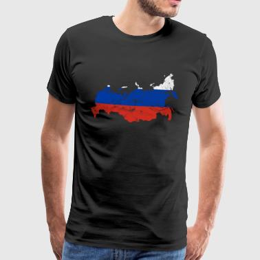 Russie carte couleurs nationales look vintage - T-shirt Premium Homme