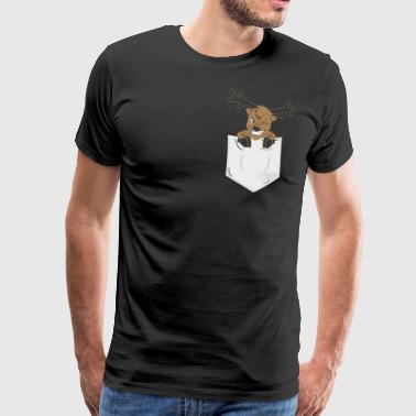 Christmas reindeer breast bag antlers gift - Men's Premium T-Shirt
