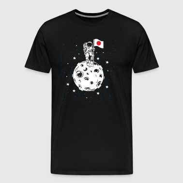 Astronaut with Japanese flag on the moon - Men's Premium T-Shirt