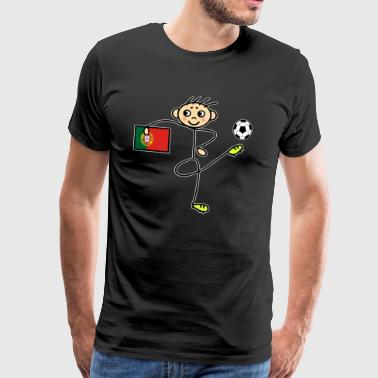 Stick figure Portugal soccer player - Men's Premium T-Shirt