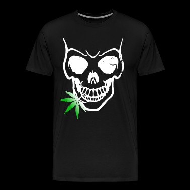 Skull with weed gift idea skeleton smokes - Men's Premium T-Shirt
