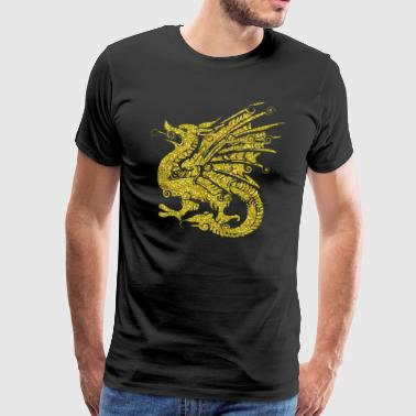 Golden Dragon drage huldreeventyr gave - Premium T-skjorte for menn