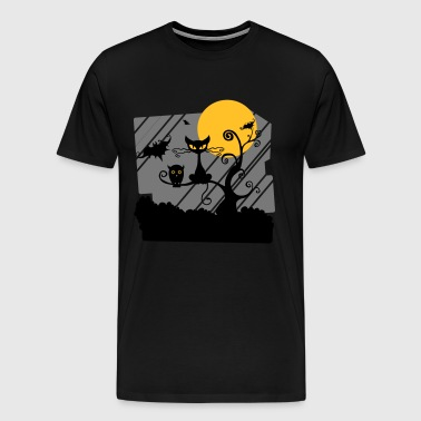 Dieren van de Night Owl Cat Bat - Mannen Premium T-shirt