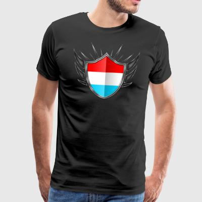 Luxembourg Flag Coat of Arms Silver 013 - Men's Premium T-Shirt