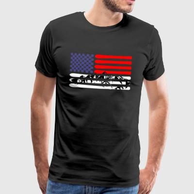 American flag skiing and mountain - Men's Premium T-Shirt