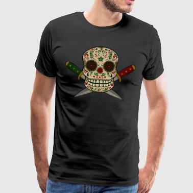 Mexican skull and daggers. Vintage Worn - Men's Premium T-Shirt