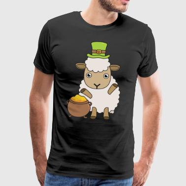 Cartoon St Patrick's Day Sheep Ik hou van Ierland - Mannen Premium T-shirt