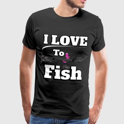 I love to Jig - Fishing Angeln mit Jig - Fishyworm - Männer Premium T-Shirt