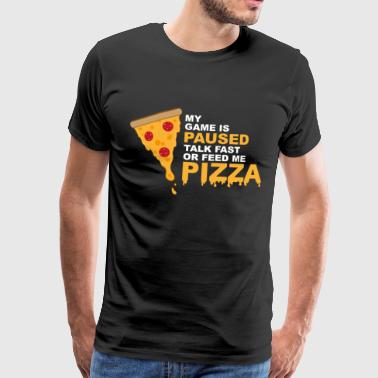 Game Is Paused Pizza Gaming Funny Nerd - Men's Premium T-Shirt